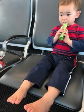 Little guy didn't want to wear socks/shoes.