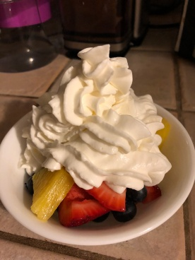 "Red 'White"" and Blue dessert for our healthy guests + White whipped cream for me!"