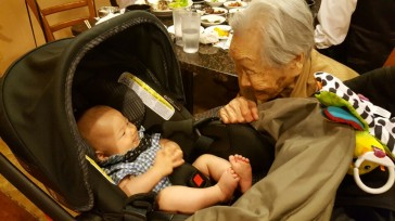 Meeting Jacob for the first time, 06/2016, in Chicago celebrating his Baptism and 100-day birthday