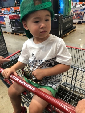 Costco on Tuesday- I almost wanted to sit in the car from all the cramping. But I love Costco and had to buy stuff!