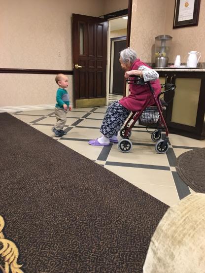 Jacob adoring his great-grandmother.